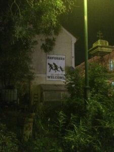 Transparent an der Hauswand der Linzer KAPU. Credit: Christian Diabl